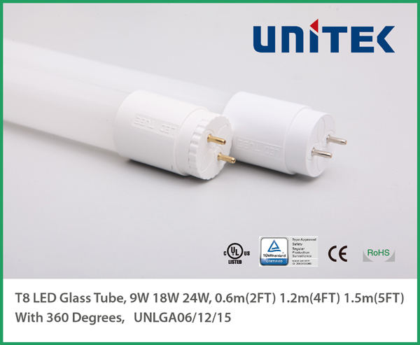 TUV CE UL_Glass LED T8 Tube